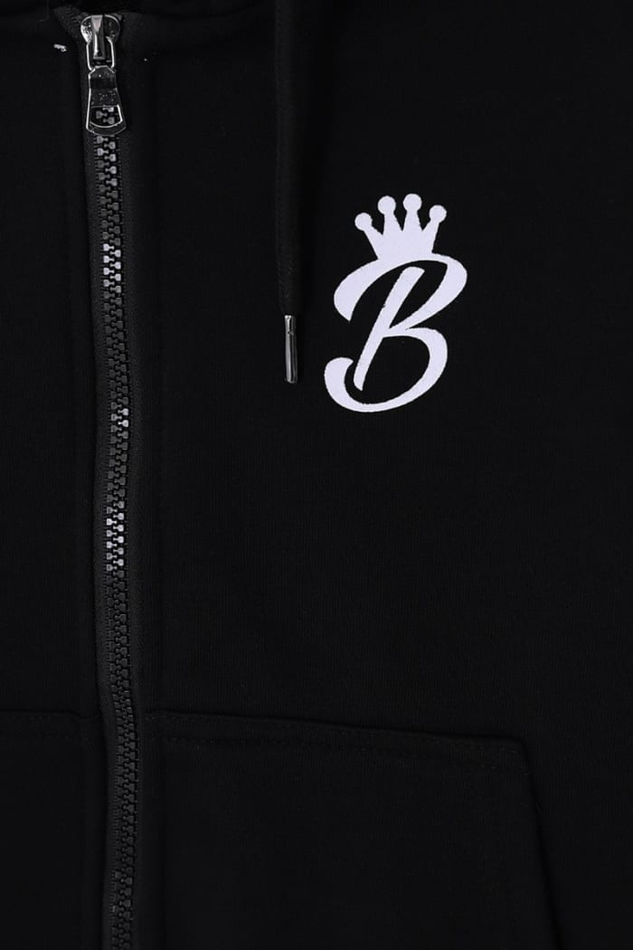 B Collection Zipped Hoodie - Black : Close