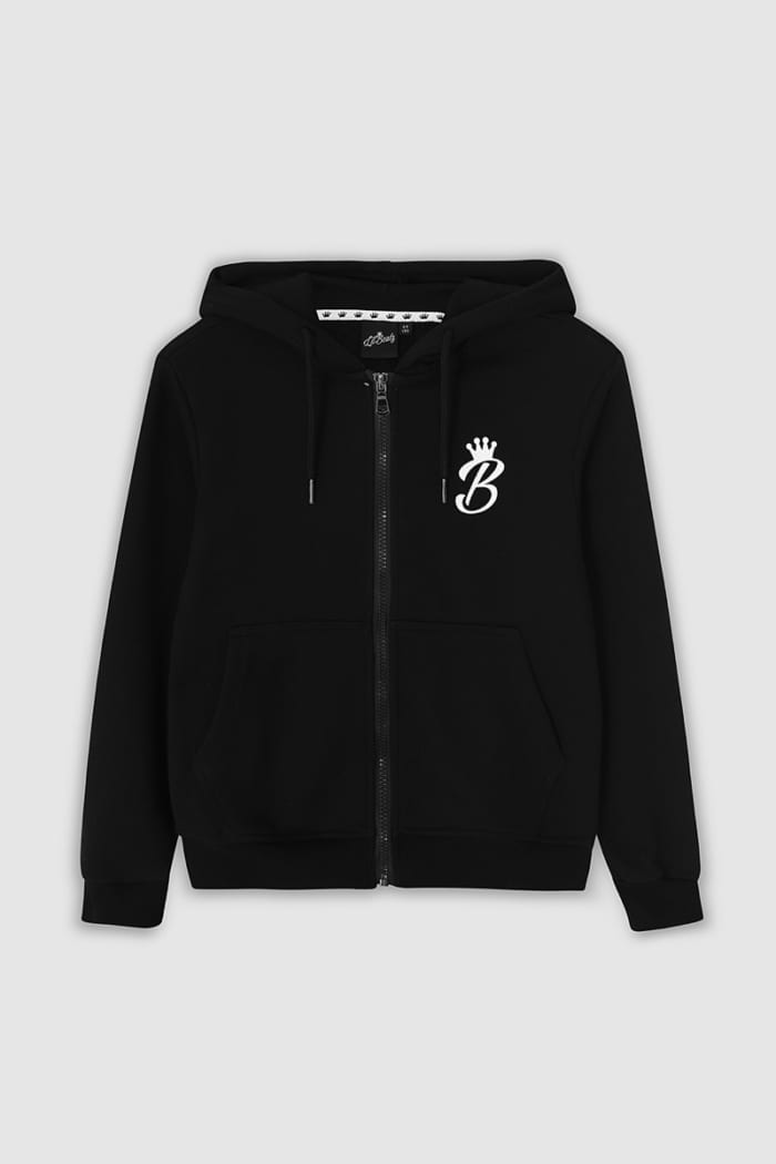 B Collection Zipped Hoodie - Black : Front