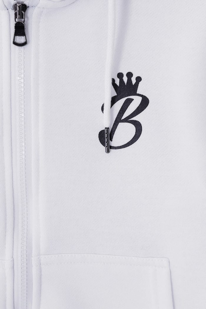 B Collection Zipped Hoodie - White : Close