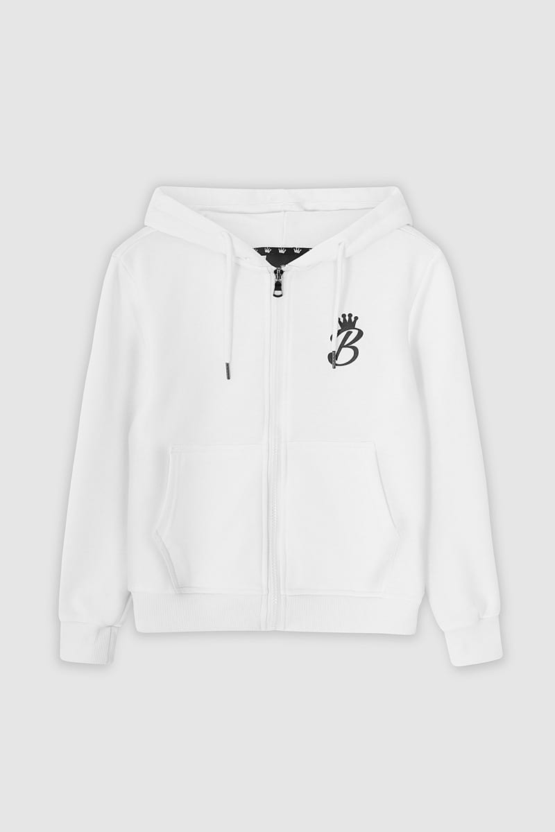 B Collection Zipped Hoodie - White : Front