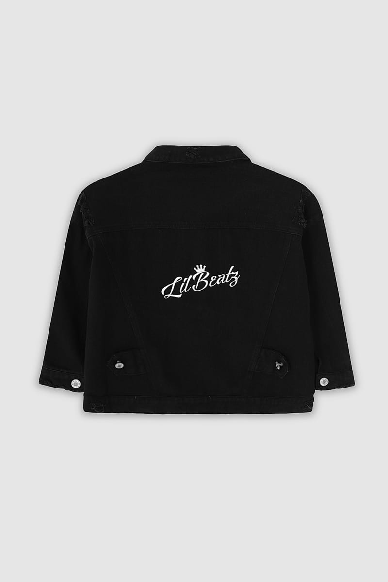 Classic Ripped Denim Jacket - Black Back