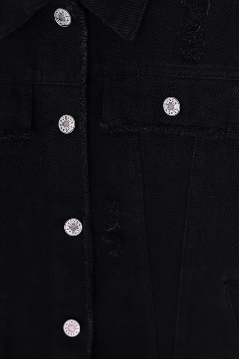 Classic Ripped Denim Jacket - Black Close