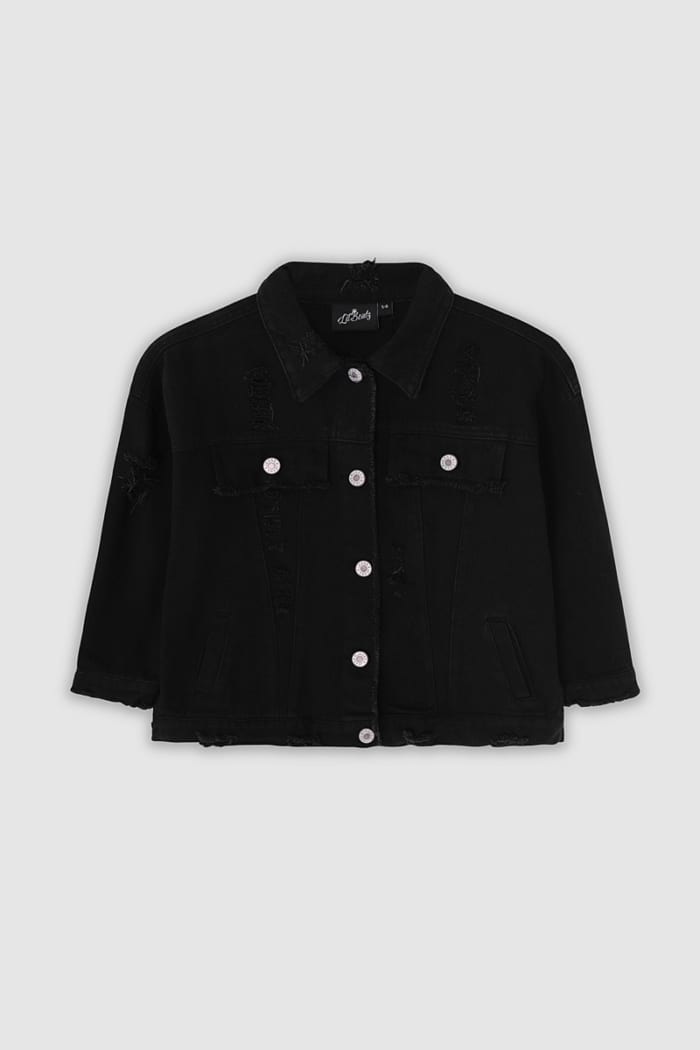Classic Ripped Denim Jacket - Black Front