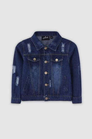 Classic Ripped Denim Jacket - Dark Blue Front