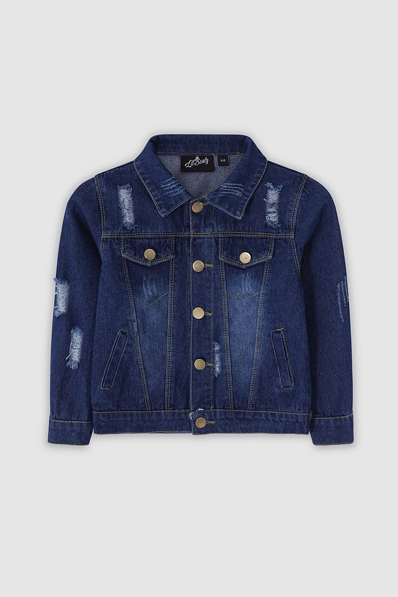wide selection comfortable feel hot-selling real Classic Ripped Denim Jacket - Dark Blue