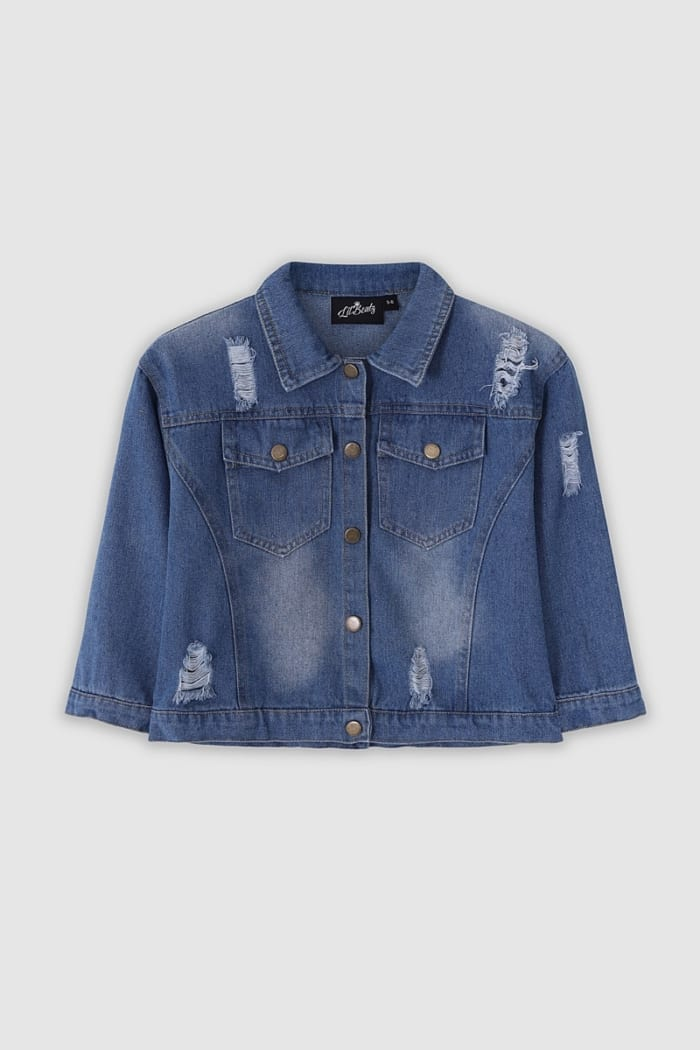 Classic Ripped Denim Jacket - Light Blue Front
