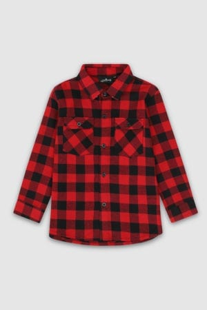 Checked Long Sleeved Shirt Red Front