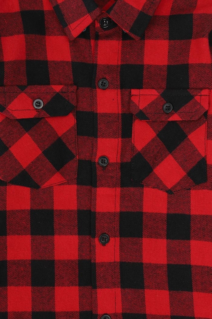 Checked Long Sleeved Shirt Red Front Close