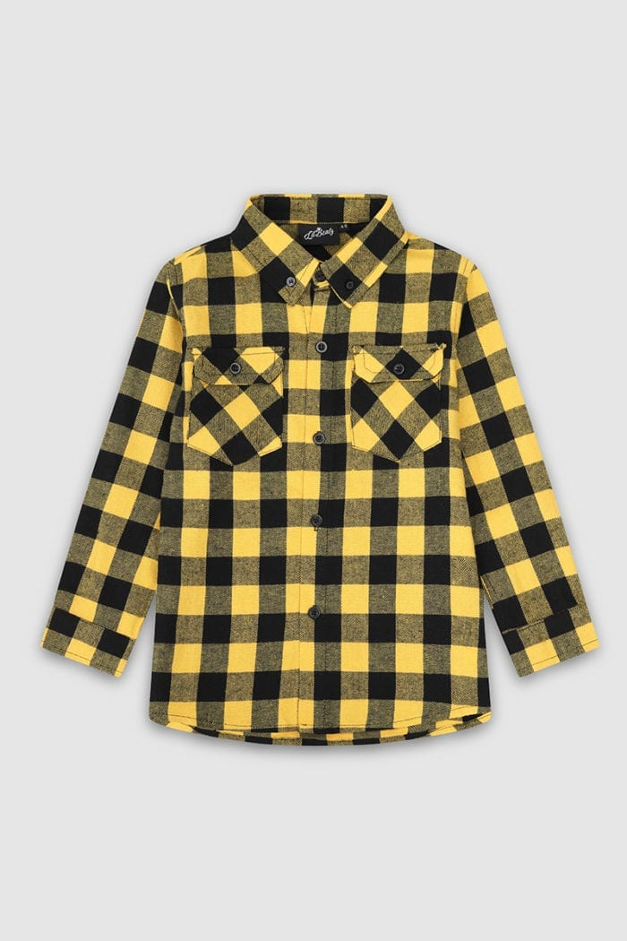 Checked Long Sleeved Shirt Yellow Front